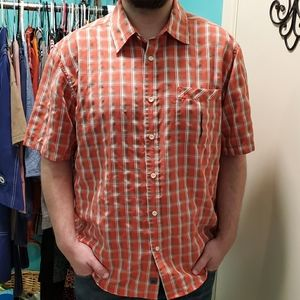 💚QUIKSILVER salmon/gray/white plaid buttondown XL